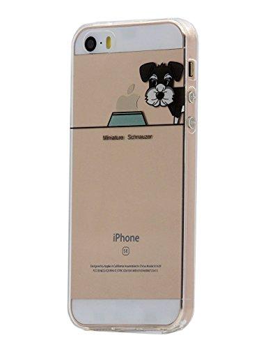 Keyihan iPhone 5 / 5S / SE Hülle, Niedlich Haustier H&e & Seine Näpfe Muster Dünn Durchsichtige Weiche Silikon TPU Handy Schutzhülle Bumper für Apple iPhone 5 5S SE (Zwergschnauzer)