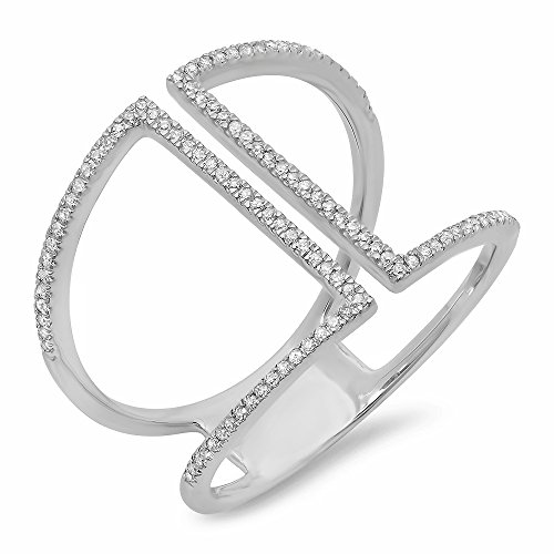 Dazzlingrock Collection 0.30 Carat (ctw) 14K Round White Diamond Ladies Geometric Fashion Ring 1/3 CT, White Gold, Size 5.5
