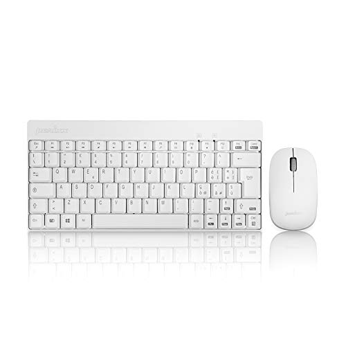 Perixx PERIDUO-712 Tastiera e Mouse Wireless PC Set Senza Fili da 2,4 GHz, Silenzioso e Sottile, Layout Italiano, Compatibile con Windows, Bianco