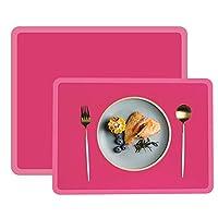 Set di 2 tovagliette da tavolo in silicone con protezione per piano di lavoro, resistenti al calore, antiscivolo, spesse, antiaderenti, per cucina, pranzo e bambino, 37,5 x 27 cm, colore: Rosa chiaro