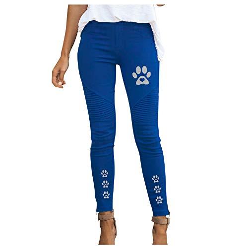 Xmiral Damen Hose Plissee Einfarbig Elastische Hose mit hoher Taille Slim Fit Katzenfußabdrücke Arbeitshose(Blau,S)