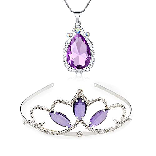 Kzslive Prinzessin Kostüm Sofia Tiara und Magic Amulett Wassertropfen Anhänger Halskette Set für Mädchen Geburtstag/Weihnachten