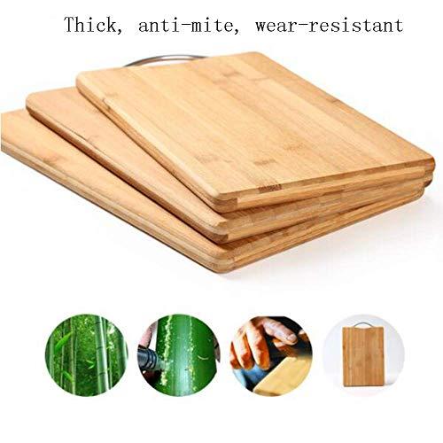 Gyt& Tagliere in bambù - Tagliere in Legno di bambù Organico Manico in Acciaio Inossidabile, Preparazione del Tagliere in Legno, Carne, Verdure, Frutta, Biscotti,A