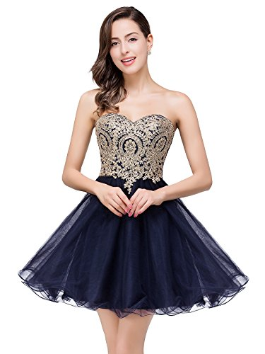 Babyonlinedress Chic Knee Length Tulle Appliques Dance Quinceanera Prom Dress (Navy Blue,4)
