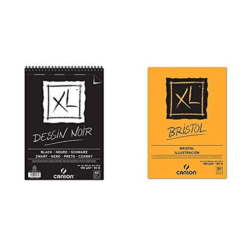 canson Álbum Espiral Microperforado, A4, 40 Hojas, XL Black, Grano Fino 150g Negro + Bloc de Dibujo, Blanco, A4, 21 x 29.7 cm