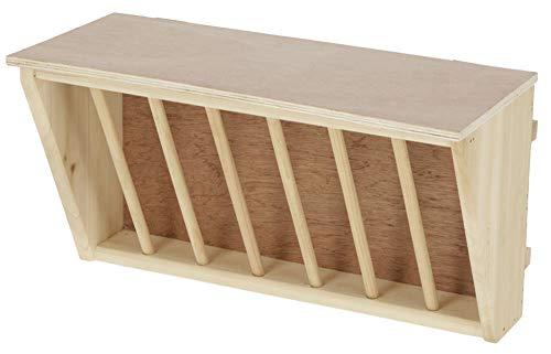 Kerbl 81799 Heuraufe mit Sitzbrett, Kaninchen Meerschweinchen, Holz 37x17x20cm