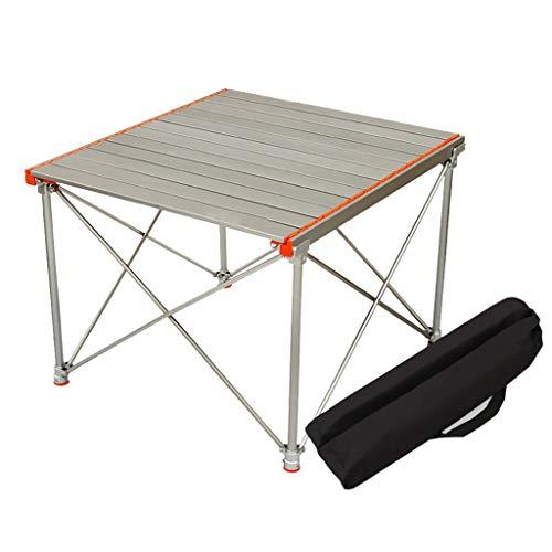 SHYM Mesa Plegable Camping Tablero de Mesa Plegable de Aluminio - Patas de Mesa Ajustables - Mesa de Camping Portátil - Cinturón de Almacenamiento de Tela Oxford - para Camping Y Picnic