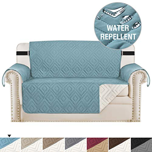 H.VERSAILTEX Reversible Loveseat Cover Furniture Protector Anti-Slip Water Resistant 2 Inch Wide Elastic Straps Couch Covers Pets Kids Fit Sitting Width Up to 46'(Love Seat, Stone Blue/Beige)