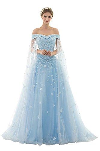 AZNA Damen Prinzessin Spitze Abendkleider Ballkleid Partykleid Hochzeitskleider Lang mit Schleppe Hellblau 42