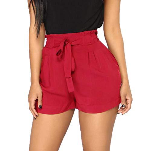 Clearance!! Women's Casual High Waist Shorts GoodLock Retro Fit Elastic Waist Pocket String Short Pants (Small, Wine)