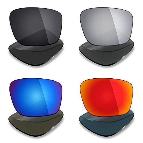 Mryok 4 pares de lentes polarizadas de repuesto para gafas de sol Oakley Mainlink – Stealth Black/Fire Red/Ice Blue/Silver Titanium