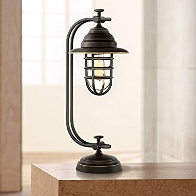 Knox Industrial Desk Table Lamp Oil Rubbed Bronze Cage Glass Shade Antique Edison LED Filament for Bedroom Office - Franklin Iron Works