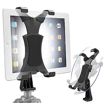 Yoassi 360Degrees Rotatable Heavy Duty iPad Tripod Mount Universal Clamping Tablet Holder Break-Resistant Anti-Wobble iPad Tripod Holder Adapter Fits iPad Pro 9.7 10.5 11 12.9 iPad 12345678 Mini Air