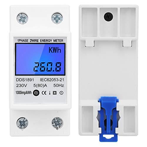 Medidor de energía de riel DIN monofásico, 230 V 5 (80) A 50HZ HOO KWH METER PLÁSTICO PLÁSTICO Y COPO PURE PURE POR 1 MINUTO