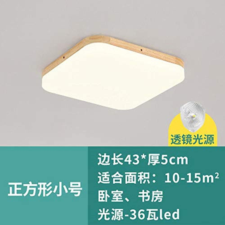 Zhouzhou666 Led Deckenleuchte Schlafzimmer Wohnzimmer Lampe Holz Balkon Studierlampe, Quadratisch TriFarbe 24W