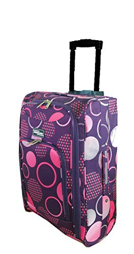 Hand Luggage Cabin Bag Trolley with Wheels Flight Bags Suit Case for Easyjet, Ryanair, British Airways, Virgin, FlyBe, Jet 2 and Many Others Airlines or Travel (Purple Circle)