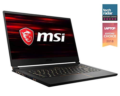 MSI GS65 Stealth THIN-037 15.6' 144Hz 7ms Ultra Thin Gaming Laptop GTX 1070 MAX-Q 8G, i7-8750H 6 Core, 16GB RAM, 512GB SSD, RGB KB VR Ready, Metal, Black w/ Gold Diamond Cut, Win 10 Home 64bit