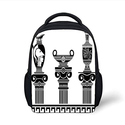Kids School Backpack Toga Party,Set of Hellenic Vases and Ionic Columns Artistic Design Amphora Antiquity,Black and White Plain Bookbag Travel Daypack
