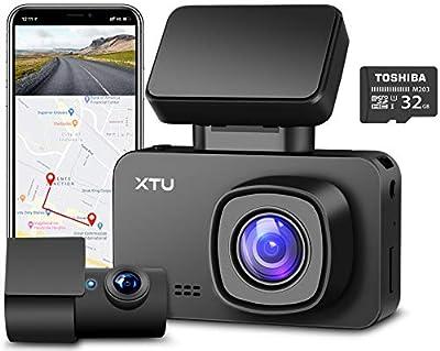 XTU Dash Cam, Front Camera 4K Dual Dash Cam 1440P+1080P, Built-in WiFi GPS Battery, HD Night Vision, Magnetic Mount, Loop Recording, G-sensor, Mini Size, Gesture Snapshot,170? Angel (Free 32G SD Card)