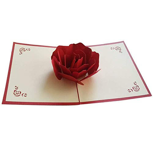 OSUNP Big Rose 3D Pop UP Greeting Cards Fantastic Flower Handmade Gift Card Origami & Kirigami For Valentine's Day Birthday Anniversary Invitation Wedding Love Gifts