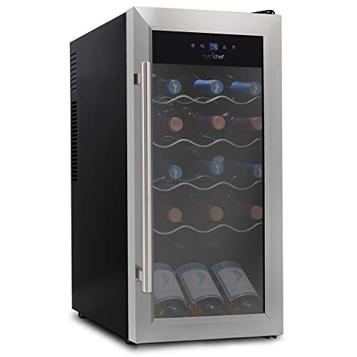 18 Bottle Wine Cooler Refrigerator - White Red Wine Fridge Chiller Countertop Wine Cooler - Freestanding Compact Mini Wine Fridge 18 Bottle w/Digital Control, Stainless Steel Door - NutriChef PKCWC18