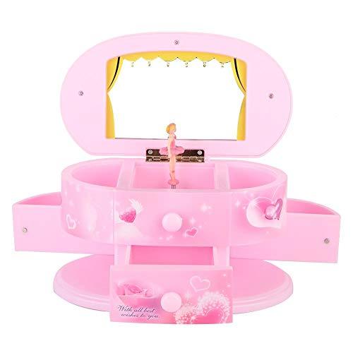 Mini muziekdoos, draagbare dansende ballerina muziekdoos juwelendoos opbergdoos met spiegel voor meisjes, kerstcadeaus thuis sieradendoos, ballerina muziekdoos (roze)