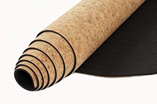 Qubabobo Tappetino da Yoga TPE + Sughero Naturale Antiscivolo per Pilates, Esercizi, Fitness, Allenamento, con Borsa da Trasporto e tracolla 183 x 61cm 4mm
