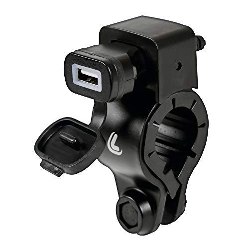 Lampa 38832 USB-Fix Tube, Caricatore USB con Fissaggio a Manubrio e connettori a Forcella - Fast Charge - 2400 mA - 12/24V