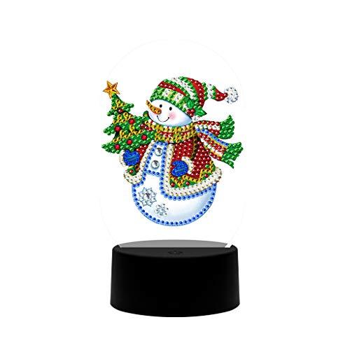Muñeco de nieve con luces LED de noche, dibujos de religión con forma especial de diamante, bordado de cruz, decoración principal