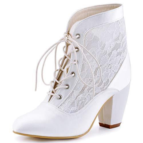 ElegantPark HC1559 Zapatos Novia Mujer Botines de Boda Tacón Alto Punta Satén Cordones Zapatos De Boda Blanco EU 38
