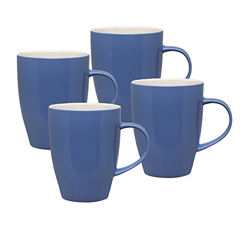 HIC Harold Import Co. NT780BB HIC Dinnerware - Set di 4 tazze da caffè, in ceramica gres porcellanato, 340 ml, colore: Bayberry