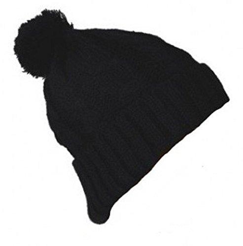 PURECITY© Produit Original - Bonnet Long Oversize Street Wear Torsade Pompon Homme Femme Long Beanie - Coloris Noir - Tendance Fashion Mode Mixte - Sk