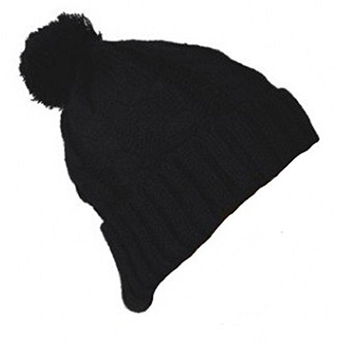PURECITY© Produit Original - Bonnet Long Oversize Street Wear Torsade Pompon Homme Femme Long Beanie - Coloris Noir - Tendance Fashion Mode Mixte - Sk
