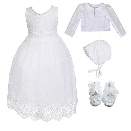 Cinda Baby-weißes Spitze-Taufkleid und Mütze Mit Bolero 68-74