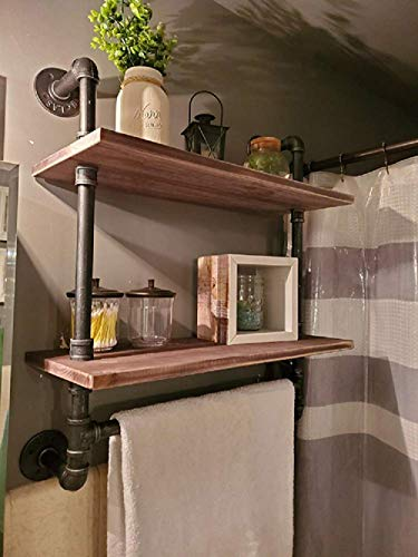 Bathroom Shelves Wall Mounted 2 Tiered,24in Industrial Pipe Shelving,Rustic Wood Shelf with Towel Bar,Farmhouse Towel Rack,Metal Floating Shelves Towel Holder,Iron Distressed Shelf Over Toilet