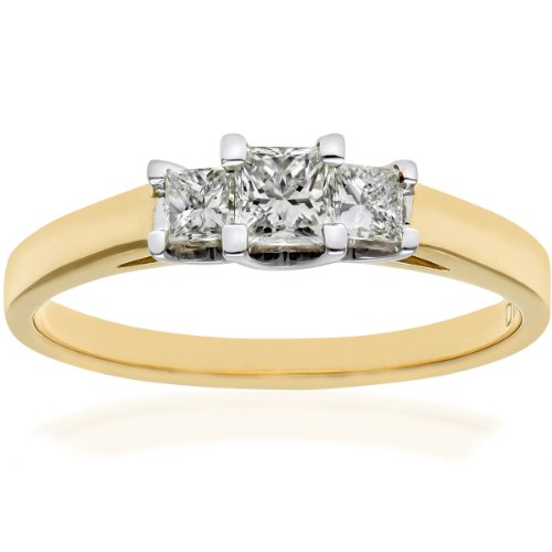 Naava Women's 18 ct Yellow Gold J/I Certified Princess Cut 0.50 ct Diamonds Trilogy Ring, Size K