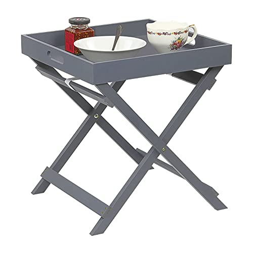 Taylor & Brown Wooden Folding Butler Tray Tables Portable Breakfast Dinner Serving Tray Side End Table for Living Room Hallway Bedroom Garden Terrace Balcony (Grey)