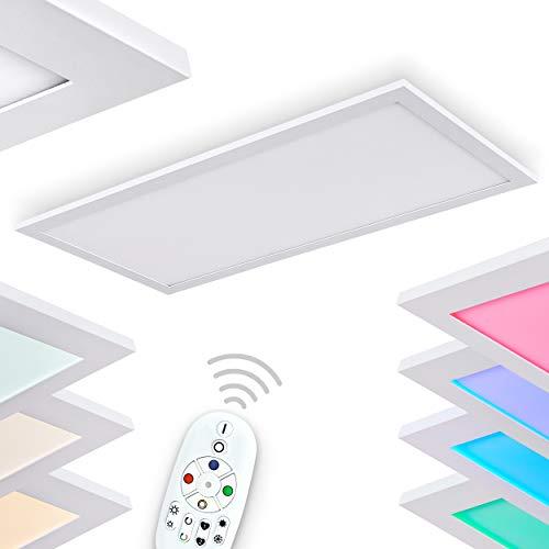 LED Deckenleuchte Gallitos, dimmbare Deckenlampe aus Metall in weiß, rechteckige Zimmerlampe mit Fernbedienung und RGB Farbwechsler Panel, 1 x LED 12 Watt, 2700-6000 Kelvin, 1500-1600 Lumen