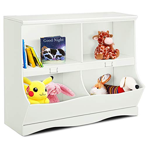 Costzon Toy Storage Organizer, Open Storage Toy Organizing Cubby, Multi-Bin Organizer Cabinet with Footboard, Nursery Bookshelf for Children Girls & Boys Bedroom Decor Room, White