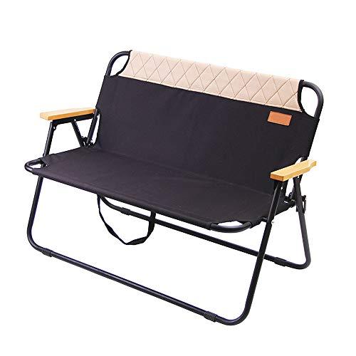 Tragbare Ultra Camping Picknick Strand-Stuhl Outdoor-Freizeit Doppel Klappstuhl mit 2 Personen Holzmaserung Nap Stuhl,Schwarz