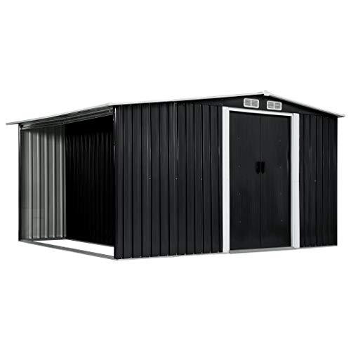 Tidyard Metall Gerätehaus Groß mit holzunterstand, Gartenschrank Wetterfest, Geräteschuppen, Gartenhaus Outdoor, Gesamtmaße 329,5×259×178 cm Anthrazit