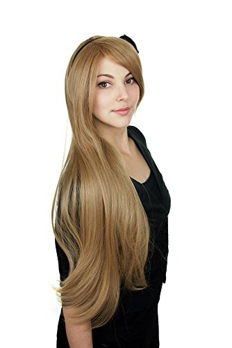 Prettyland Perruque longue 80cm Blond Châtain raide droite Volume Naturel résistant la chaleur Cosplay Wig C723