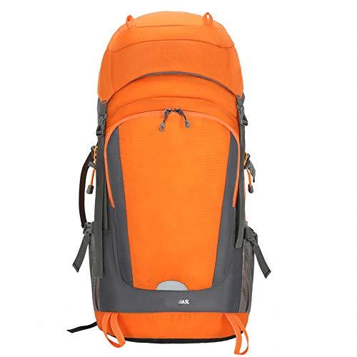 Topashe Mochila de Senderismo Cubierta Camping Deporte,Bolsa de montañismo al Aire Libre, 55 + 10L Bolsa de Viaje-Naranja,Mochila Trekking Escalada