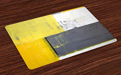 ABAKUHAUS Gris y Amarillo Salvamantel Set de 4 Unidades, Arte Callejero Diseño Moderno Abstracto Desgastado Cuadrados, Estampa Digital Lavable Decoración Protege Manteles, Gris Carbón