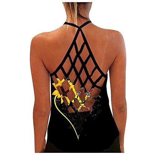 Damen Sexy Bluse Weste Mode Tanktop, personalisiertes, bedrucktes, sexy, rückenfreies Tanktop für Damen,Sporttop Yoga Rückenfrei Oberteil Laufen Fitness Funktions Shirt Tank Tops(07-Schwarz:XL)