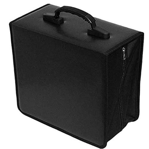CD Case, Disco Case Storage Supporto DVD Supporto per cd Binder DVD Borsa da stoccaggio Organizzatore PU con manico 400 Capacità Nero