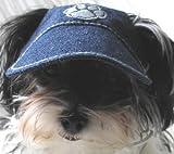 denim visor hat for dog