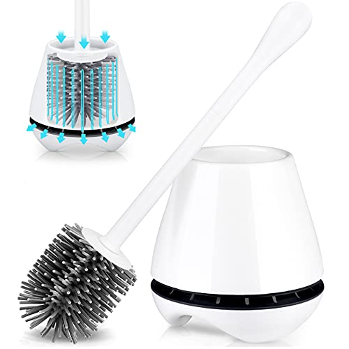 TRENTI Toilet Brush with Holder, Silicone Toilet Brush Set with Ventilated Holder and Long Ergonomic Handle, Flexible Silicone Toilet Brushes for Bathroom