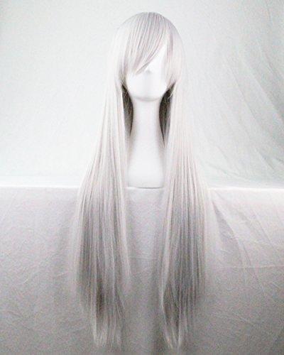 Kissparts 80cm Silber Weiß glattes Haar Cosplay Perücke mit Perücke Haarnetz und Kamm