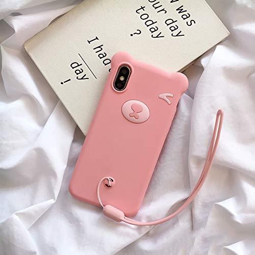 HUAI Funda de silicona suave para iPhone SE 2020 11 Pro Max Bear para iPhone 7 8 Plus para iPhone X, XS MAX XR con funda de protección de cuerda de mano (nido : funda+correa, color: rosa)